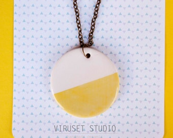 Ceramic necklace jewelry, Minimalist ceramic necklace pendant, Ceramic jewelry, Ceramics & pottery, Ceramic jewellery geometric necklace