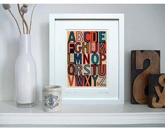 "Retro art print, or nursery alphabet. 8 x 10"" mount. A to Z print using typographic ephemera - fine art giclée. Title: 'Signals WIRE'"