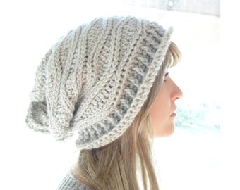 Crochet PATTERN - Cabled Wrap Slouchy Hat