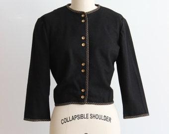 Vintage Black Matador Bolero / 1950s Black Jacket