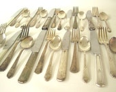 Mismatched Flatware Set Tarnished Silverplate Silverware Basic Service for 4, 6, or 8, or single place settings