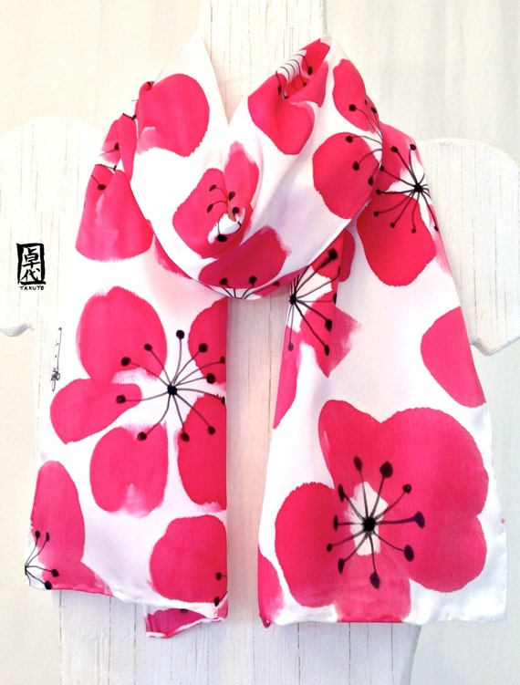 Hand Painted Silk Scarf, Red, Black and White Silk Scarf, Japanese Plum Blossoms Scarf, Red - AKA, Red Floral Scarf, 8x54 inches.
