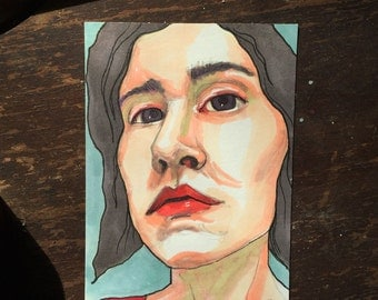 original - portrait drawing - female - woman - face - small - ACEO size - cheap art - inexpensive illustration - not a print - ATC
