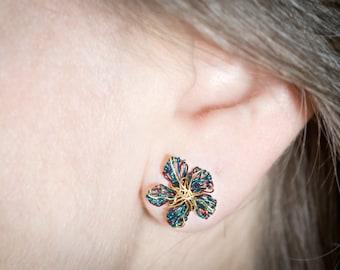 Blue gold earrings Flower Earrings Wire Flower jewelry Flower stud earring Ear pin earring Wire earrings Daisy stud earrings Unique earrings