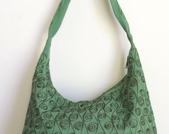 Embroidery bag, small tote bags, green tote