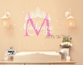 Wall Decal Baby Girl Princess Name Crown Custom Nursery Vinyl Lettering Decals