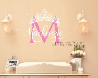Princess Wall Decal Crown Wall Decal Baby Girl Nursery Name Wall Decal Princess Decor Princess Theme Party Girl Wall Art Girl Monogram