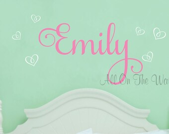 Girl Name Wall Decal Hearts Decals Baby Girl Nursery Vinyl Decals Girls Bedroom Decor Custom Personalized Wall Stickers Kids Wall Art