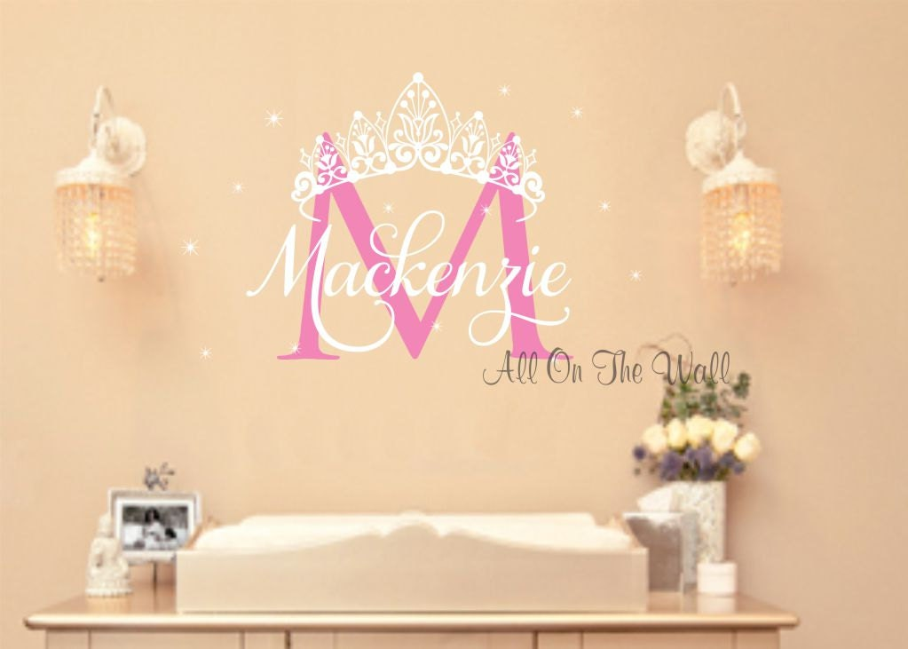 princess wall decal crown vinyl stickers baby girl name decals. Black Bedroom Furniture Sets. Home Design Ideas
