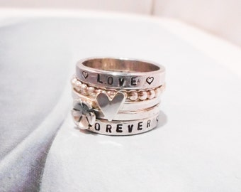 Floral Love Personalized Sterling Silver Ring //  Wide with Horizontal Stamping