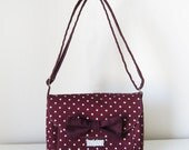 Burgundy Cross Body Bag with Polka Dots and Bow Detailed Flap