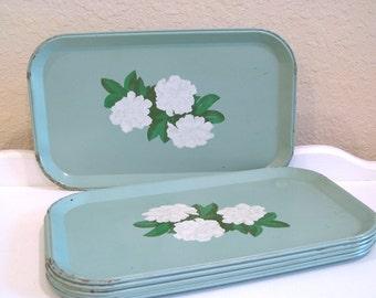 Vintage Tray - Mint Green Metal - White Carnation Litho - 1950's - Cottage Farm Decor