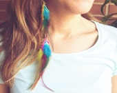 Boho Feathers Earrings. Long Tribal Feathers earrings. Cruelty free. Choose colors and style. Customizable Rainbow Dreamer Wings Earrings
