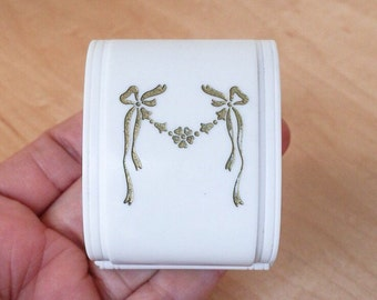 Classic Art Deco Ring Box Gilt Ribbon White Celluloid Wedding Jewelry Velvet Display Bow Vintage