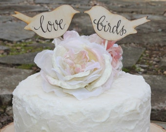 Wedding Cake Topper Love Bird Personalized Rustic Shabby Chic