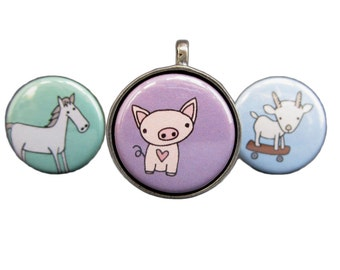 Horse Necklace Set - Three in one - Pig Necklace - Goat Necklace - Interchangeable Farm Animals Pendants