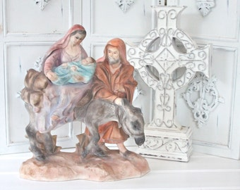 Vintage Nativity Statue Holy Family Mother Mary St Joseph Baby Jesus Chalkware