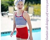 Chloe High Waisted Bikini Swimming and Dance Shorts Pattern in girls sizes 2-14