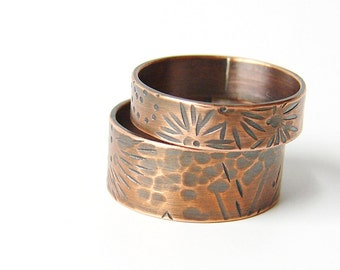 Copper wedding band. Copper boho ring. His and hers ring set. Rustic patina bands.