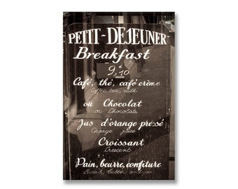 Paris Photography on Canvas - Cafe Menu Sign,  Large Wall Art, Gallery Wrapped Canvas, Black and White, Architectural Urban Home Decor