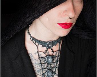 Triple Genuine Grey Moonstone Necklace Macrame