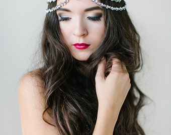 Evelyn Bohemian Rhinestone Headpiece, boho bride, crystal rhinestones, custom couture, silver halo, art deco, indian, swarovski