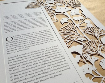 Ginkgo papercut ketubah | wedding vows | anniversary gift
