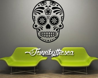 Calavera Wall Decal Vinyl Sticker Sugar Skull Decal Dia de los Muertos art #3