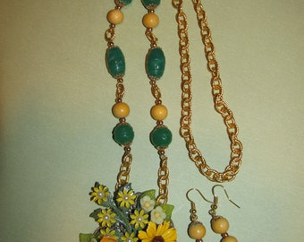 Vintage Handmade Ooak Jaden Flower Garden Rhinestone Enamel Flower Necklace Earrings Set
