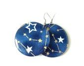 Star Navy Earrings, Constellation, Indigo, Japanese Paper, Washi, Yuzen, Chiyogami, Large Dangles, Made to order, Lasercut wood, Resin