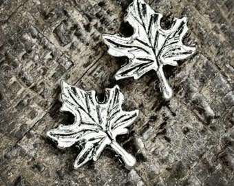 10 Maple Leaf Charms Antique Silver Tone 17 x 14 mm - ts611