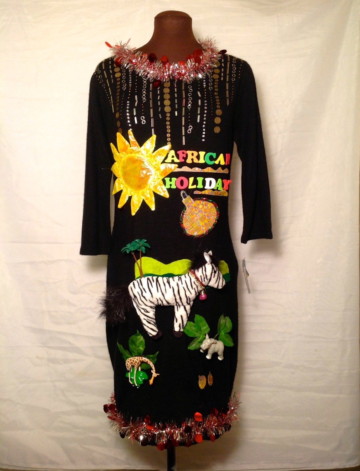 African Holiday Ugly Christmas Sweater Dress New With Tags Big