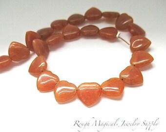 Tangerine Peach Orange Aventurine Hearts 10mm Gemstone Beads - 23 Pieces