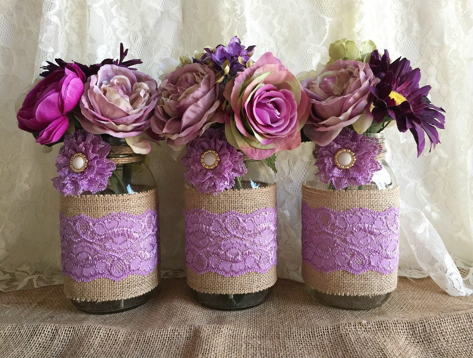 Lavender rustic burlap and lace covered mason jar vases