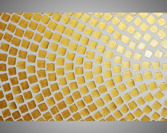 Large painting on canvas Oversized art White and Gold Metallic Squares Art Wall Deco modern style 72 x 24 Ready to Hang Made to Order