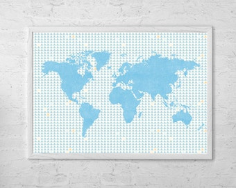 Map of the world Map Art Print Poster - Wall Hanging - Housewarming - Large World Map