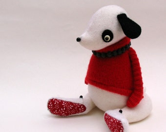 SALE  -  White Woollen Dog - Handmade plush dog wearing woolly pullover and felt boots.