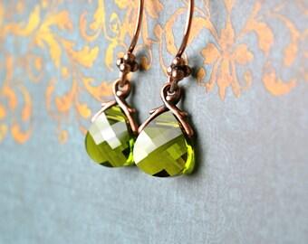 Green Crystal Earrings, Olive Green Earrings, Green Swarovski, Ornate Jewellery Briolette Earrings, Olive Green Jewelry, Green Drop Earrings