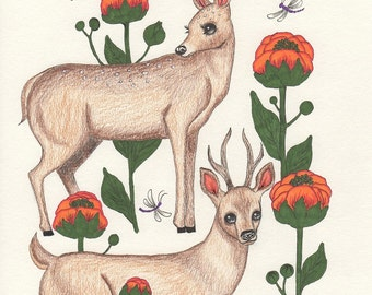 Deer art print, deer drawing 5x7 art print, flower illustration, woodland deer, forest animal nursery