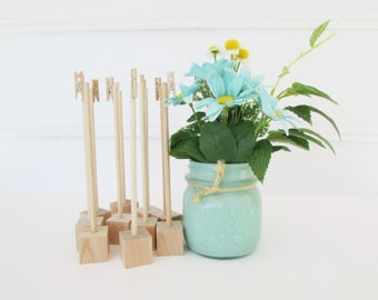 10 Unfinished Rustic Wood Table Number Holders, Wedding, Shabby Chic, Raw Wood, Southern, Wedding Decoration, Rustic Holder, Clothespin