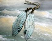 Ocean Fairy Wing Earrings, glitter, magical, ethereal, sparkle, butterfly, cicada, fairytale, romantic