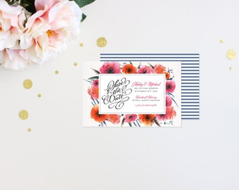 Save the Date Modern Tropic Floral Elegant Luxury Bold Classic Unique Calligraphy Destination Beach Affordable Canvas Striped