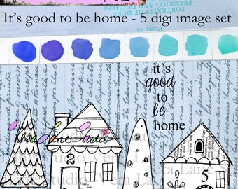 It's Good to be Home - Adorable little whimsical houses and trees with quote - 5 digi image set