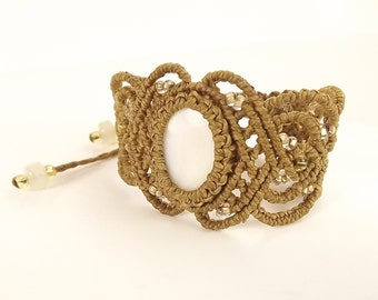 Macrame Bracelet - White Mother Of Pearl With Golden Brown Thread