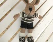 Easter Plush Bunny Toy - Knit Boy Toy Rabbit - Child Toy - Plush Doll - Stuff Animal -Stuff Bunny-  Knit Toy - Soft Bunny - Kids Toy Sam