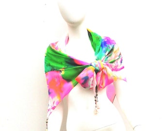 Silk Wrap Scarf Beaded and Tasselled Spring Fever