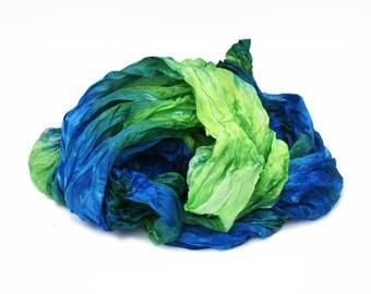 silk scarves,  hand dyed silk scarf, silk scarf - Crispy Morning - chartreuse,  blue silk scarf.