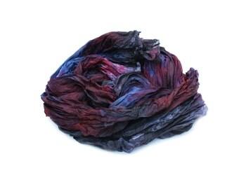 silk scarf - ONEGIN -  blue, grey, red silk scarf.