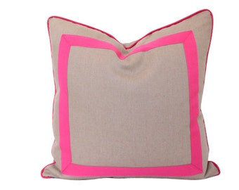 Latte Linen Pillow Cover with Fuchsia Inset Border and Piping