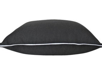 Black Linen Pillow Cover with White Piping